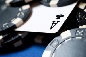 Ace Under Casino Chips
