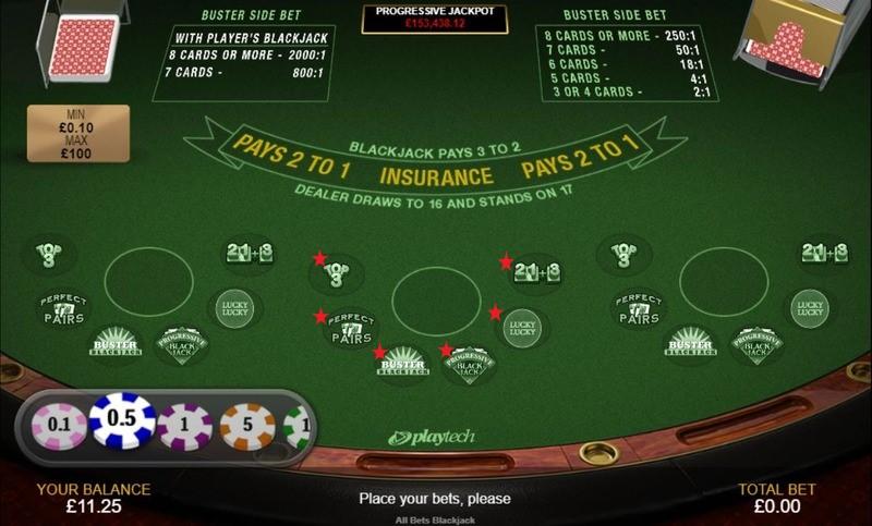 All Bets Blackjack Side Bets marked