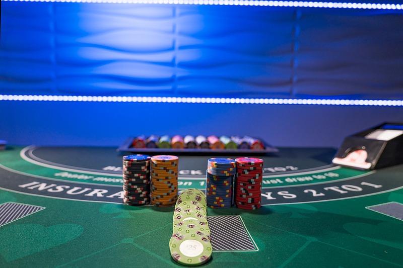 Casino Chips on Blackjack table