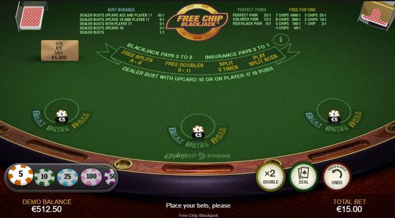 Free Chip Blackjack Table Layout